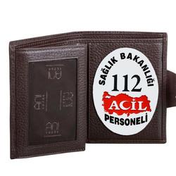 112 Acil Rozetli Bayan Kahverengi Klasik Cüzdan - Thumbnail