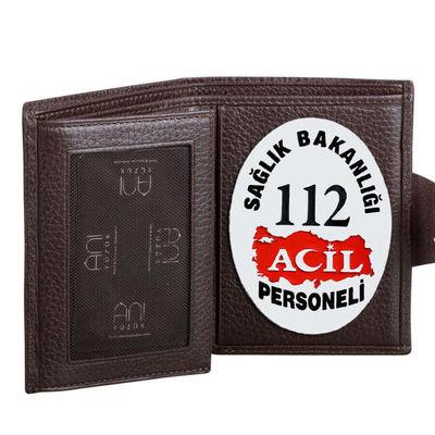 112 Acil Rozetli Bayan Kahverengi Klasik Cüzdan