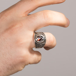 3 Hilal Bozkurt Tasarım Erkek Gümüş Yüzük - Thumbnail