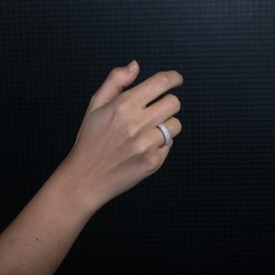 3 Sıra Taşlı Gümüş Kadın Yüzük - Thumbnail