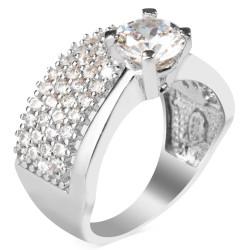 4 Sıra Taşlı Gümüş Tek Taş Yüzük - Thumbnail