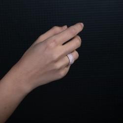 7 Sıra Taşlı Rose Kaplama Kadın Yüzük - Thumbnail