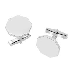 925 Ayar Gümüş 8 Köşeli Sade Kol Düğmesi - Thumbnail