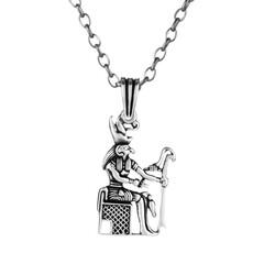 Anı Yüzük - 925 Ayar Gümüş Antik Mısır Güneş Tanrısı Ra Erkek Kolye (Kalın Zincirli)