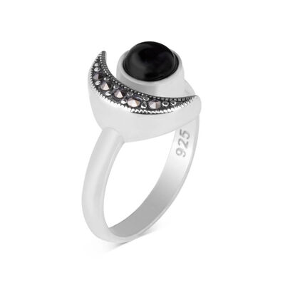 925 Ayar Gümüş Ay Yıldız Model Bayan Yüzük Siyah Taşlı