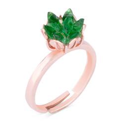 925 Ayar Gümüş Ayarlanabilir Yeşil Lotus Çiçeği Kadın Yüzük - Thumbnail