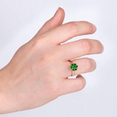 925 Ayar Gümüş Ayarlanabilir Yeşil Lotus Çiçeği Kadın Yüzük