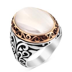 Anı Yüzük - 925 Ayar Gümüş Beyaz Sedef Taşlı Yüzük