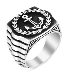 Anı Yüzük - 925 Ayar Gümüş Çapalı Denizci Yüzüğü