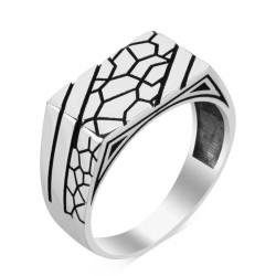 925 Ayar Gümüş Desenli Zarif Erkek Yüzük - Thumbnail
