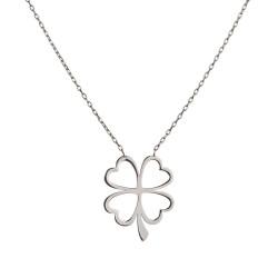 Anı Yüzük - 925 Ayar Gümüş Dört Yapraklı Yonca Kolyesi
