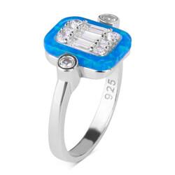 Anı Yüzük - 925 Ayar Gümüş Dörtgen Bayan Yüzüğü Gümüş Renk Mavi Tonları Taşlı