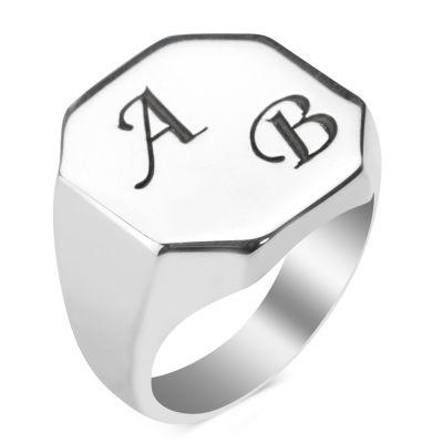 925 Ayar Gümüş Erkek Yüzüğü İsteğe Özel Harf Yazılı