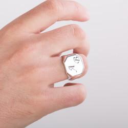 925 Ayar Gümüş Erkek Yüzüğü İsteğe Özel Harf Yazılı - Thumbnail