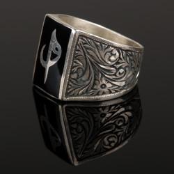 925 Ayar Gümüş Erzurum El İşi Elif Vav İşlemeli Erkek Yüzüğü - Thumbnail