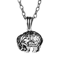 Anı Yüzük - 925 Ayar Gümüş Fil Motifli Erkek Kolye (Kalın Zincirli)