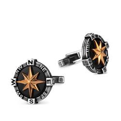 925 Ayar Gümüş İşlemeli Pusula Kol Düğmesi - Thumbnail