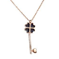 Anı Yüzük - 925 Ayar Gümüş Kalpli Anahtar Kolye