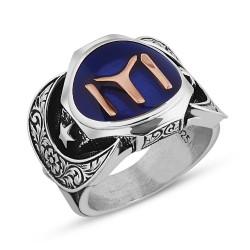 925 Ayar Gümüş Kayı Boyu Sancaklı Erkek Yüzüğü - Thumbnail