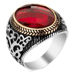 Anı Yüzük - 925 Ayar Gümüş Kırmızı Zirkon Taşlı Erkek Yüzüğü
