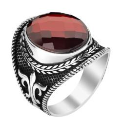 Anı Yüzük - 925 Ayar Gümüş Kırmızı Zirkon Taşlı Motifli Erkek Yüzük