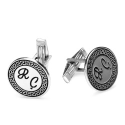 925 Ayar Gümüş Kişiye Özel Harfli Kol Düğmesi - Thumbnail