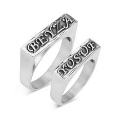 Anı Yüzük - 925 Ayar Gümüş Kişiye Özel Kabartma Yazılı Çift Yüzüğü