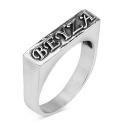 Anı Yüzük - 925 Ayar Gümüş Kişiye Özel Kabartma Yazılı Erkek Yüzüğü