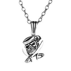 Anı Yüzük - 925 Ayar Gümüş Kuru Kafa Korsan Erkek Kolye (Kalın Zincirli)