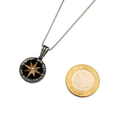 925 Ayar Gümüş Kuzey Yıldızı Pusula Kolyesi (Deri İpli)