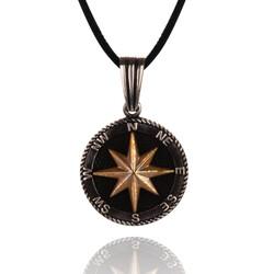 925 Ayar Gümüş Kuzey Yıldızı Pusula Kolyesi (Deri İpli) - Thumbnail