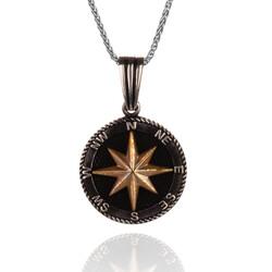 Anı Yüzük - 925 Ayar Gümüş Kuzey Yıldızı Pusula Kolyesi (İnce Zincirli)