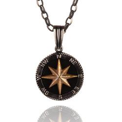 925 Ayar Gümüş Kuzey Yıldızı Pusula Kolyesi (Kalın Zincirli)