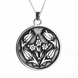 Anı Yüzük - 925 Ayar Gümüş Lale Motifli Bayan Kolye Gümüş Renk