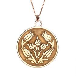 Anı Yüzük - 925 Ayar Gümüş Lale Motifli Bayan Kolye Rose Renk