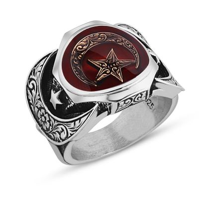 925 Ayar Gümüş Mineli Türk Bayraklı Erkek Yüzüğü