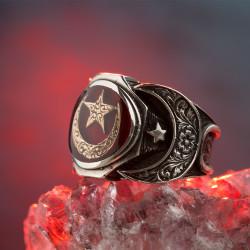 925 Ayar Gümüş Mineli Türk Bayraklı Erkek Yüzüğü - Thumbnail