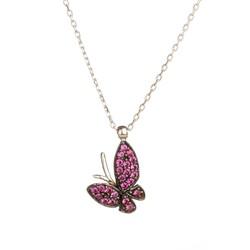 Anı Yüzük - 925 Ayar Gümüş Mor Taşlı Küçük Kelebek Kolye