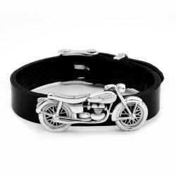 Anı Yüzük - 925 Ayar Gümüş Motosiklet Kabartmalı Orijinal Deri Kayışlı Bileklik