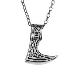 Anı Yüzük - 925 Ayar Gümüş Özel Tasarım Balta Erkek Kolye (Kalın Zincirli)