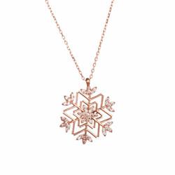 Anı Yüzük - 925 Ayar Gümüş Özel Tasarım Kar Tanesi Bayan Kolye