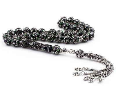 925 Ayar Gümüş Püsküllü Yeşil Mineli Erzurum Oltu Tesbih
