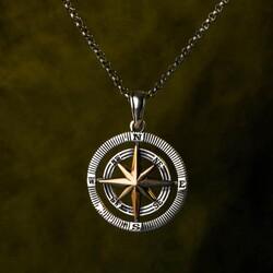 925 Ayar Gümüş Pusula Erkek Kolye (Kalın Zincirli) - Thumbnail
