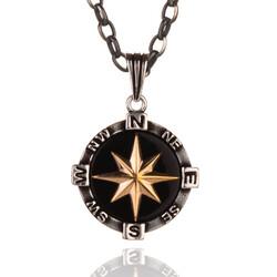 925 Ayar Gümüş Pusula Kolyesi (Kalın Zincirli) - Thumbnail