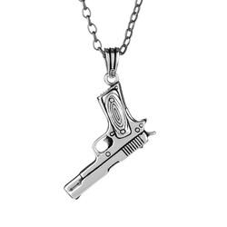 Anı Yüzük - 925 Ayar Gümüş Silah Kolye (Kalın Zincirli)