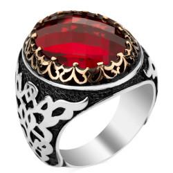 Anı Yüzük - 925 Ayar Gümüş Simetrik Desenli Kırmızı Taşlı Erkek Yüzüğü