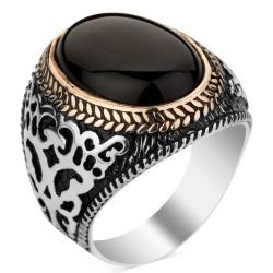 Anı Yüzük - 925 Ayar Gümüş Siyah Oniks Taşlı Erkek Yüzüğü