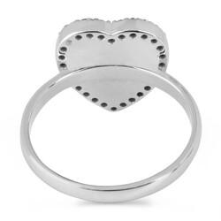 925 Ayar Gümüş Siyah Taşlı Kalp Motifli Bayan Yüzüğü - Thumbnail