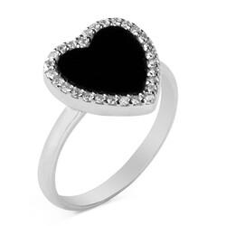 Anı Yüzük - 925 Ayar Gümüş Siyah Taşlı Kalp Motifli Bayan Yüzüğü