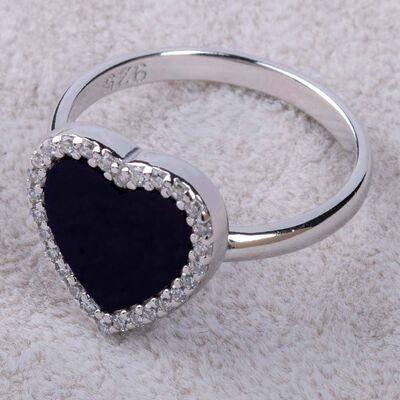 925 Ayar Gümüş Siyah Taşlı Kalp Motifli Bayan Yüzüğü